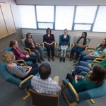 Students take a meditation class at the Colorado State University Health Network, February 11, 2015